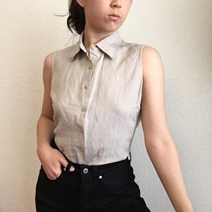 Sleeveless Collared Button Down Taupe